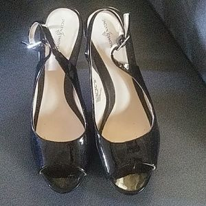 """Black sling back open toe 3"""" heel Jaclyn Smith 6.5"""